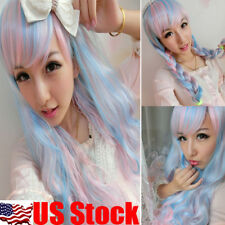 65cm Lolita Harajuku Pink & Blue Mix Curly Wavy Long Hair Anime Cosplay Full Wig