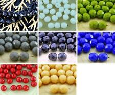 20pcs Opaque Round Faceted Fire Polished Czech Glass Beads 8mm