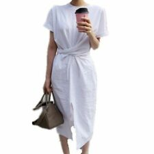 2017 New Fashion Korean Women Short Sleeve Summer Bandage Split Long Shirt Dress