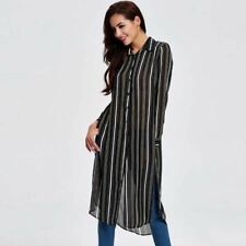 Women Long Black Color Striped Fall Long Single Breasted Trench Coat