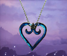 Kingdom Hearts sterling silver / faux leather necklace with crown & heart emblem
