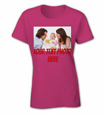 Women Personalized custom funny cool birthday Big own text photo t shirt jersey