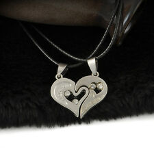 Men Women Lover Couple I Love You Necklace Heart Pendant Stainless Steel Gift
