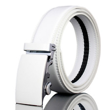 Fashion Mens White Leather Golf Belt Waistband Strap With Automatic Alloy Buckle