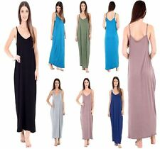 Womens Camisole Plain Lagen Look Long Maxi Ladies Strappy Baggy Style Dress