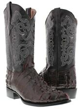 Mens black cherry crocodile tail leather western cowboy boots rodeo alligator