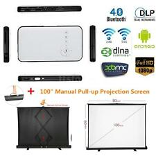 "Wireless HD 1080P Android DLP Mini Home Theater Projector+100"" Projection Screen"
