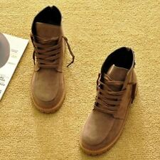 Faux Suede Material Lace Up Ankle Flat with Casual Snow Boots For Women