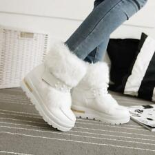 Womens Winter warm Faux Fur Furry Round Toe Snow Ankle Boots pull on size