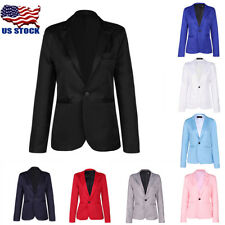 Men's Fashion Slim Fit One Button Suit Korean Blazer Jacket Coat Casual Top USA