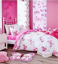 Catherine Lansfield Butterfly Quilt Cover Girls White & Pink Bedding FREE P&P !!