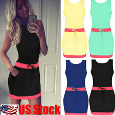 Women's Casual Summer Short Mini Dress Cocktail Party Evening Bodycon Sleeveless