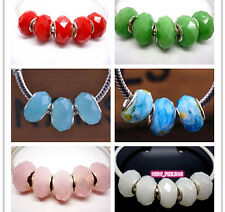 Fashion Faceted Jade Crystal Big Hole Beads Fit European Charm Bracelet