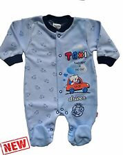 "NEW ""Cute TAXI DRIVER"" Baby Boys * Playsuit * Sleepsuit * Babygrow * 100% Cotton"