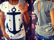 Womens Ladies Cotton Short Sleeve Anchor Printed Casual Vest T Shirt Tops Blouse