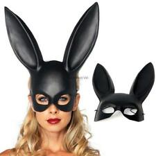 Black Masquerade Bunny Rabbit Mask Adult Halloween Costume Accessory Prop kt