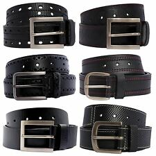 New Mens Double Stitched Pin Buckle Textured Genuine Leather Belts S-3XL