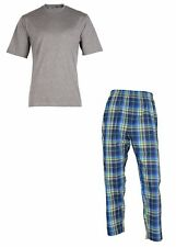 OCTAVE Mens Jersey T-Shirt & Checked Woven Long Pants Summer Pyjama Lounge Set