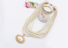 Multilayers Gemstone Beauty Pearl Rhinestone Baroque Beaded Necklace Pendant