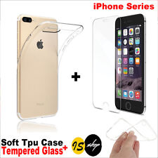 Silicone Clear Soft Gel TPU Case & Tempered Glass For iPhone 6 6S Plus 7 7 Plus