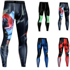 Mens Athletic Compression Long Pants Under Base Layer Spandex Gym Tights Stylish