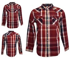 Levis Mens Casual Plaid Shirt Long Sleeve Snap Button Red & White