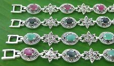 925 Sterling silver Real Stone RUBY SAPPHIRE EMERALD & Marcasite BRACELET -WOMEN