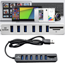 2In1 High Speed 6-Port USB 2.0 Hub Comb SD/TF Card Reader For Laptop Computer F5