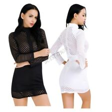 Women's Striped Mesh Bodycon Long Sleeve Evening Party Cocktail Club Mini Dress