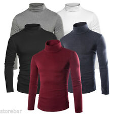 Stylish Men Casual Shirts Long Sleeve Turtleneck Pullover Top Cotton T Shirt Tee