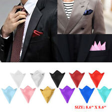 Mens Satin Solid Plain Handkerchief Hanky Pocket Square Wedding Party USLocation