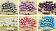 40pcs Pastel Pearl Czech Glass Round Faceted Fire Polished Beads 6mm