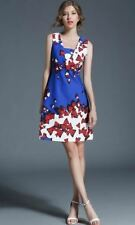 Sleeveless Blue Color Patchwork Casual Wear Knee Length Dress For Women