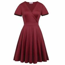 Women Candy Color Short Sleeve V-neck Pleated Plus Size Casual Dress