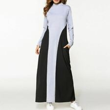 Women Winter Autumn Casual Patchwork Long Sleeve New Style Maxi Dress