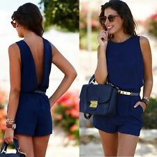 Womens Mini Rompers Bodysuit Short Sleeve Round-Neck Overalls Slim Lace
