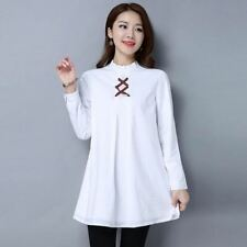 Women Long Sleeve Stand Collar Lace-up Casual Long Plus Size Blouse