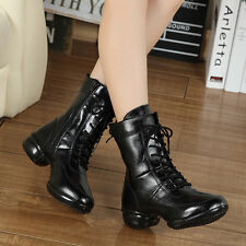 New Women Leather Thermal Heighten Short Boots Jazz Hip Hop Square Dance Shoes