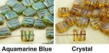12pcs Picasso Brown Opal Window Table Cut Carved Flat Square Czech Glass Beads 1