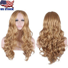 Fashion Women Dark Blonde Short Long Wavy Curly Synthetic Full Wig Costume Party