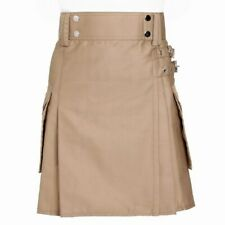 Tartan Republic Ladies Khaki Utility Scottish Kilt Skirt Cotton Inc Kilt Pin