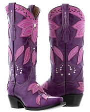 Womens Purple Summer Leather Cowboy Cowgirl Boots Western Rodeo Leaves Fall New