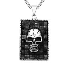 Silver Black Dog Tag Skull Head Pendant Necklace Stainless Steel Ball Bead Chain