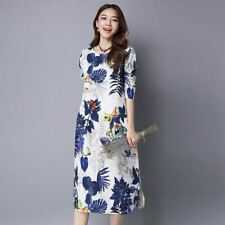 Women O-neck Autumn Cotton Vintage Print Casual Loose Maxi Long Dress