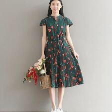 Women Vintage Style Floral Printed Short Sleeve Plus Size Pleated Dress