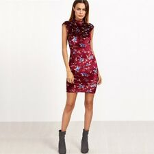 Women Burgundy Color Floral Print Cap Sleeve Mock Neck Mini Dress