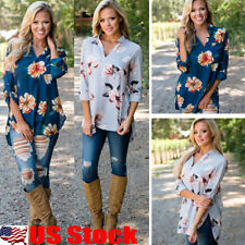 Womens Ladies Loose Long Sleeve V-Neck Shirt Casual Floral Print Tops Blouse USA