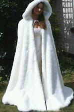Bridal Cape Ivory Wedding Cloak Hooded with Faux Fur Ankle Length  Wraps Jacket