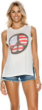 New Billabong Women's Peace And Love Muscle Crew Neck Soft White