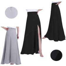 Women Chiffon Pleated Retro Split Long Maxi Dress Waist Skirt Bridesmaid Party